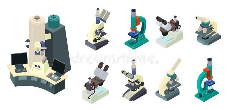 Jeu d'icônes de microscope, style isométrique illustration de vecteur
