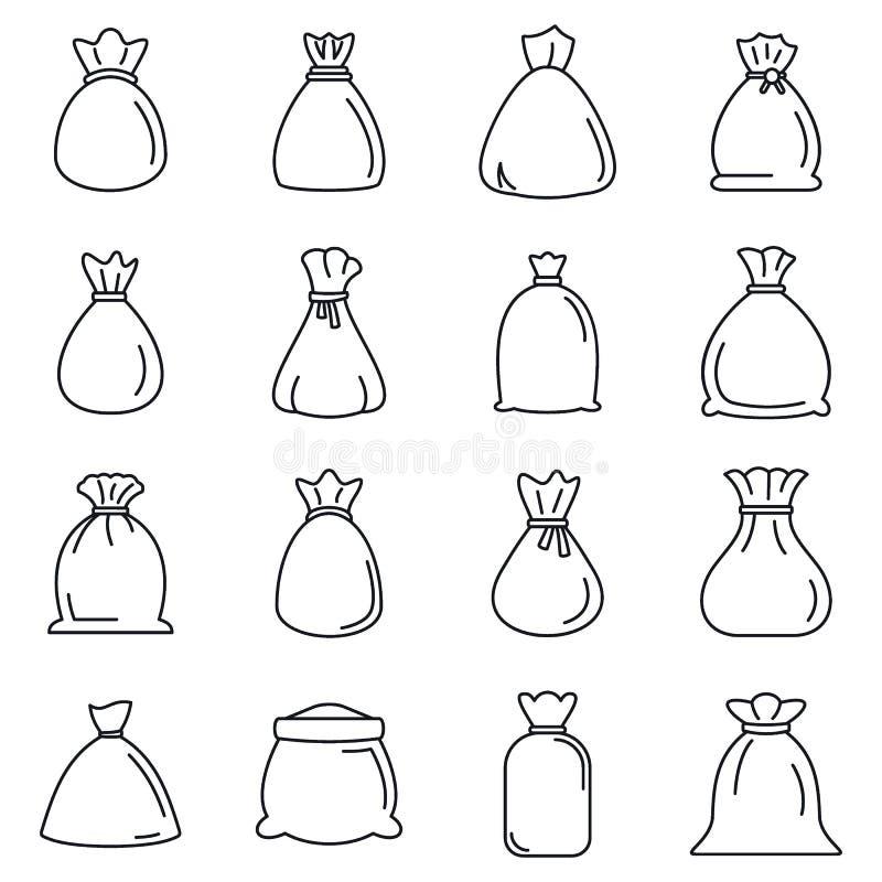 Jeu d'icônes de sac, style de contour illustration libre de droits