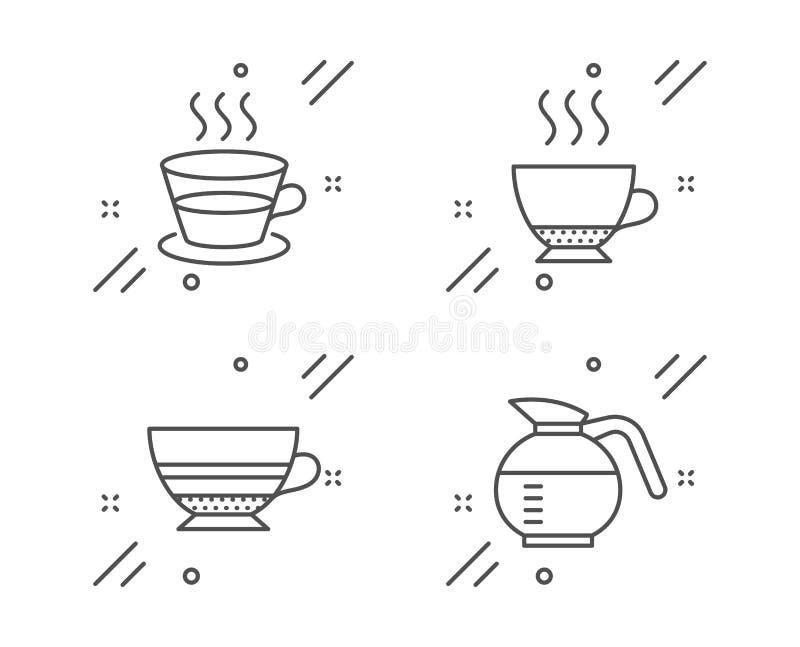 Jeu d'icônes Espresso, Coffee cup et Mocha. Signe de café. Boisson chaude, Tasse de thé, Tasse de café. Ensemble de nourriture illustration libre de droits