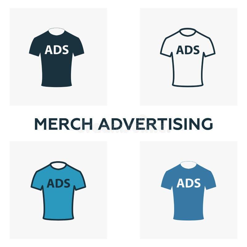 Jeu d'icônes Merch Advertising Quatre éléments de styles différents de la collection d'icônes publicitaires Icônes publicitaires  illustration de vecteur