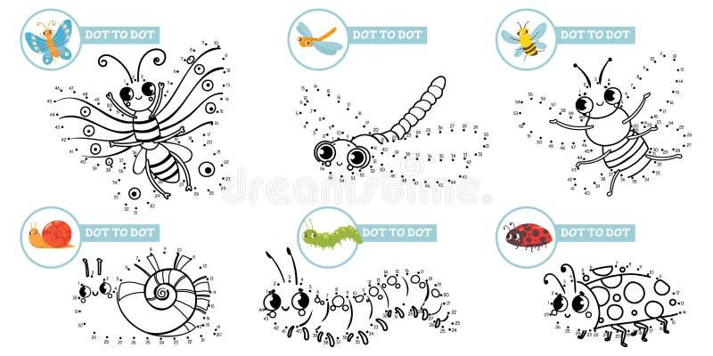 Jeu d'insectes cartoon Dots Un petit insecte dot pour dot des jeux d'éducation pour les tout-petits, jouer avec le vecteur des en illustration de vecteur