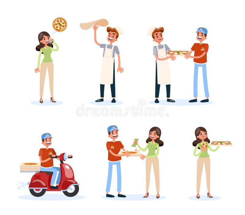 Jeu d'instructions de la livraison de pizza Processus d'ordre de nourriture illustration libre de droits