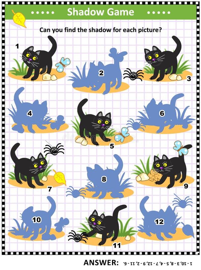Jeu d'ombre de Halloween avec le chat noir illustration stock