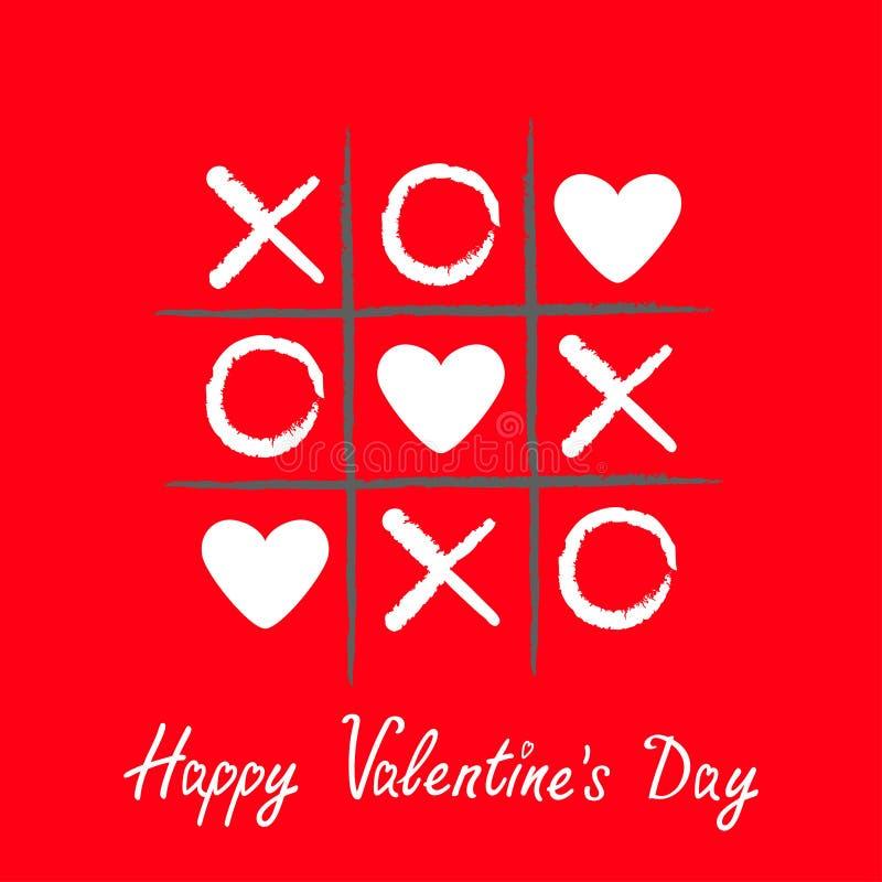 Jeu d'orteil de tac de tic avec la croix et la marque blanche XOXO de criss de signe du coeur trois illustration libre de droits