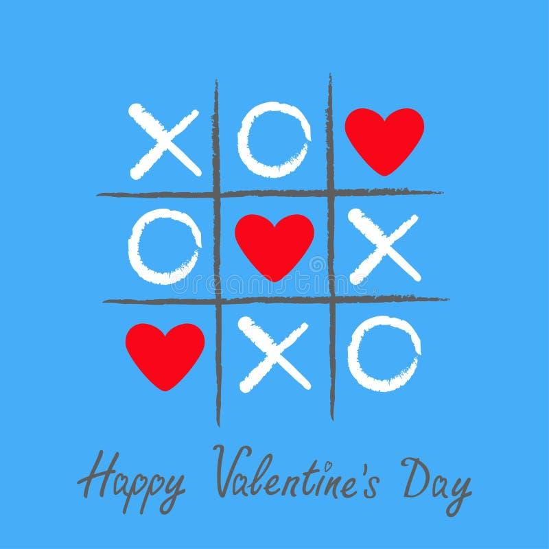Jeu d'orteil de tac de tic avec la croix et la marque rouge XOXO de criss de signe du coeur trois Brosse tirée par la main de sty illustration libre de droits