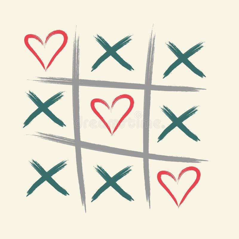 Jeu d'orteil de tac de tic avec la croix de criss et la marque de signe de coeur XOXO Brosse tirée par la main Carte heureuse de  illustration de vecteur