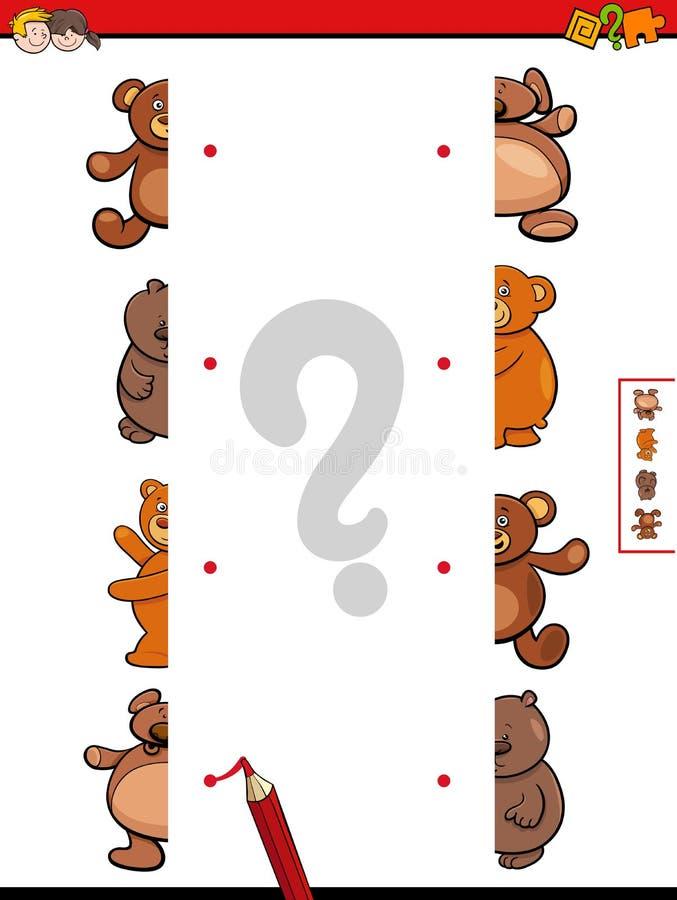 Jeu de bande dessinée de moitiés d'ours de nounours de match illustration libre de droits