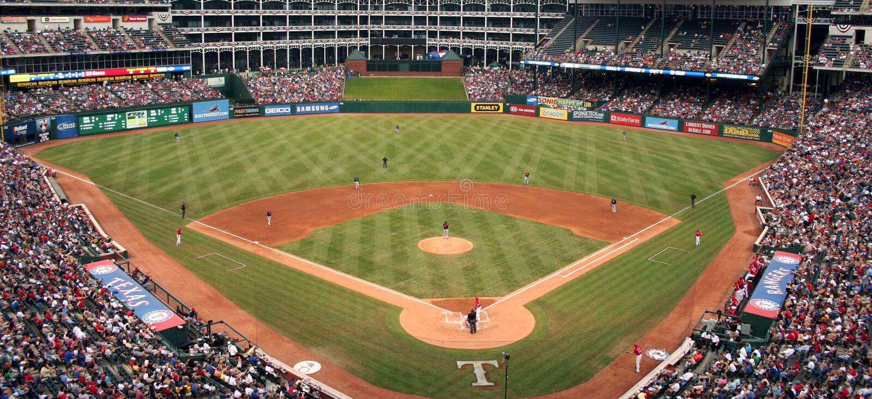 Jeu de base-ball de Texas Rangers image libre de droits