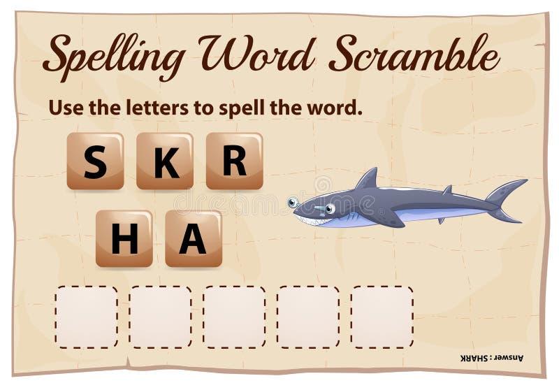 Jeu de bousculade de mot d'orthographe pour le requin de mot illustration stock