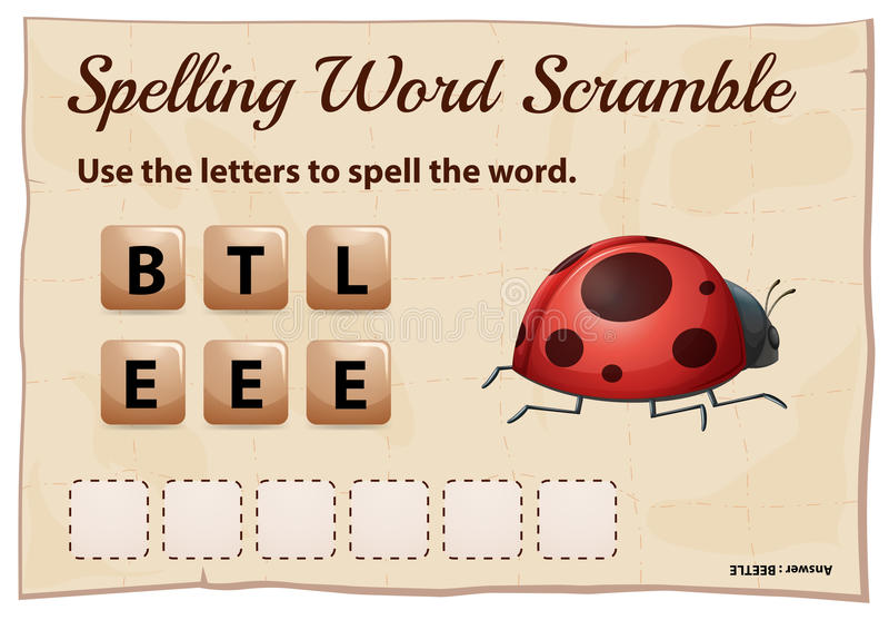 Jeu de bousculade de mot d'orthographe pour le scarabée de mot illustration de vecteur