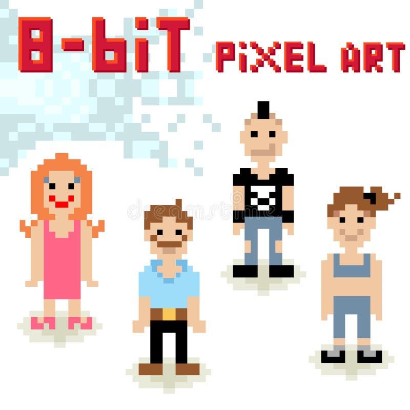 jeu de caractères à 8 bits de pixel des personnes occasionnelles illustration stock