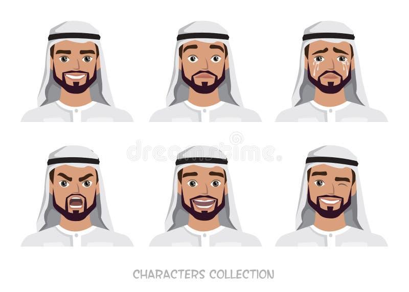 Jeu de caractères arabe d'homme des émotions image libre de droits