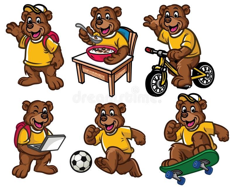 Jeu de caractères de bande dessinée de petit ours mignon illustration libre de droits