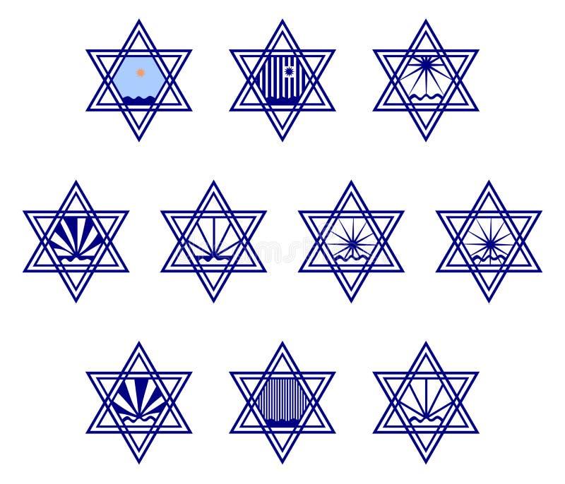 Jeu de caractères contenant le hexagram de symboles sur la surface de l'eau et du soleil illustration stock