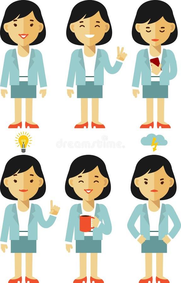 Jeu de caractères de femme d'affaires dans différentes poses illustration stock