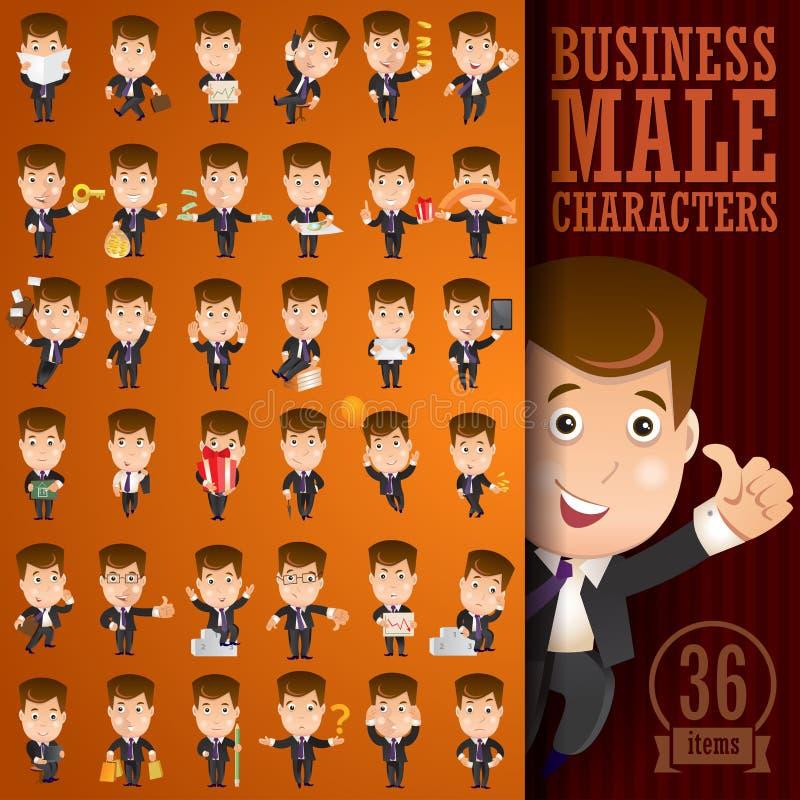 Jeu de caractères de mâle d'affaires illustration de vecteur