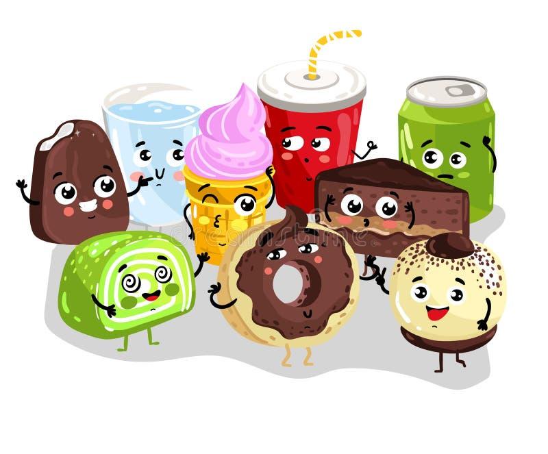 Jeu de caractères doux drôle de nourriture et de boissons illustration libre de droits