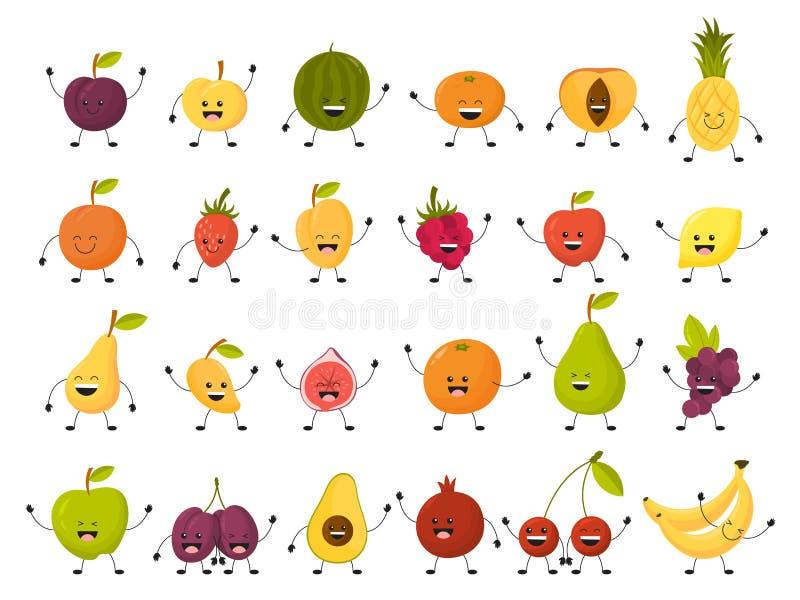 Jeu de caractères de fruit Collection de nourriture drôle avec le visage illustration libre de droits