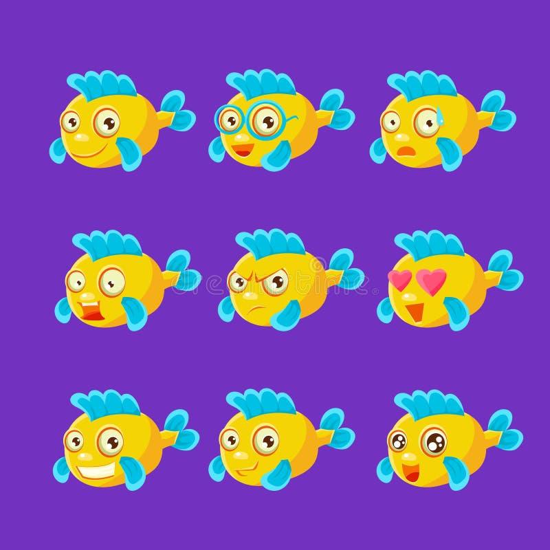 Jeu de caractères jaune mignon de bande dessinée de poissons d'aquarium de différentes expressions du visage et émotions illustration stock