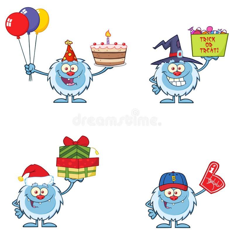 Jeu De Caractères Mascot Cartoon Cute Yeti 13 Collection de vecteurs images stock