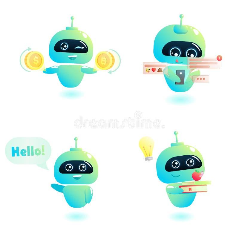 Jeu de caractères mignon de bot Chatbot salue Consultation en ligne illustration stock