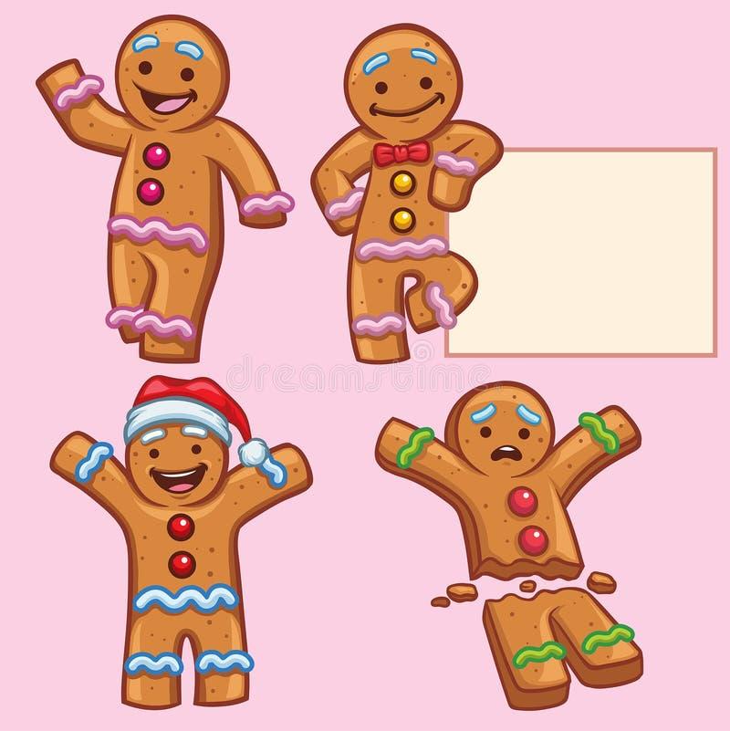 Jeu de caractères de pain de gingembre illustration stock