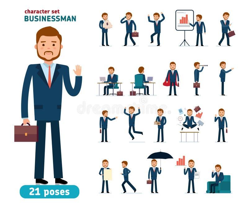 Jeu de caractères prêt à employer Homme d'affaires Différentes poses et émotions illustration stock
