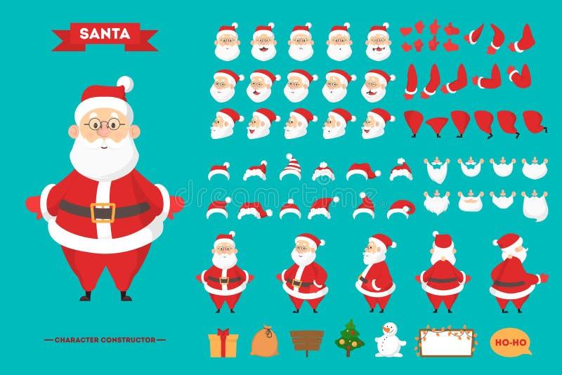 Jeu de caractères de Santa Claus pour l'animation illustration stock