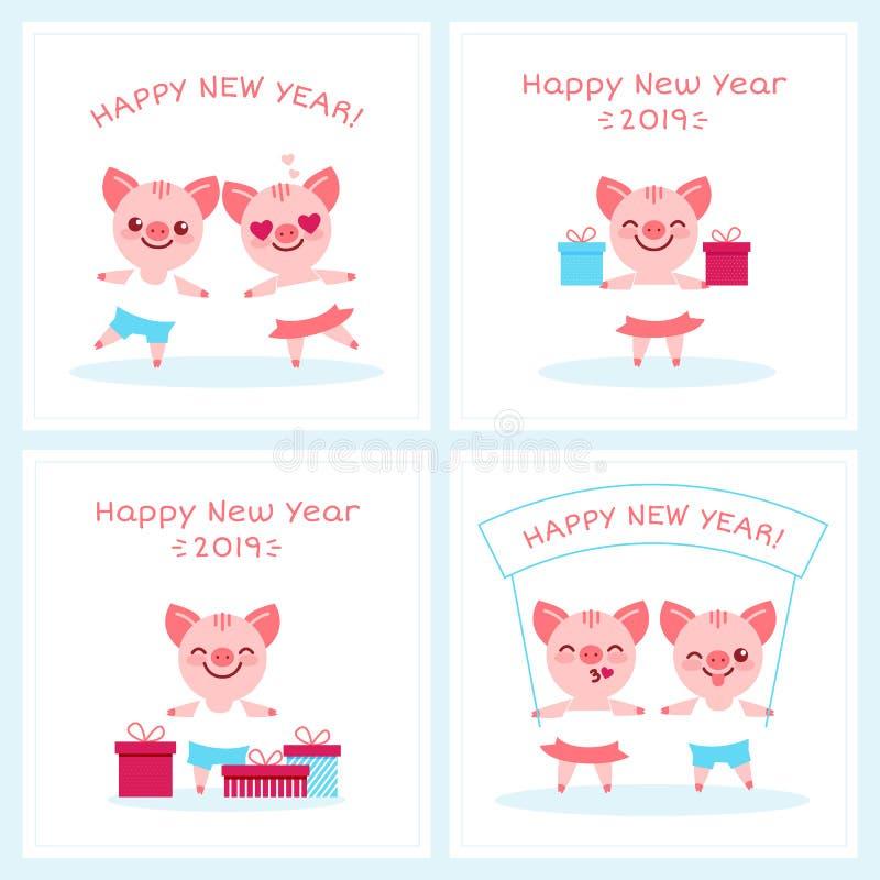 Jeu de caractères de signe de porc de zodiaque de 2019 bonnes années, caractères de porcelets de fille de garçon de bande dessiné illustration libre de droits