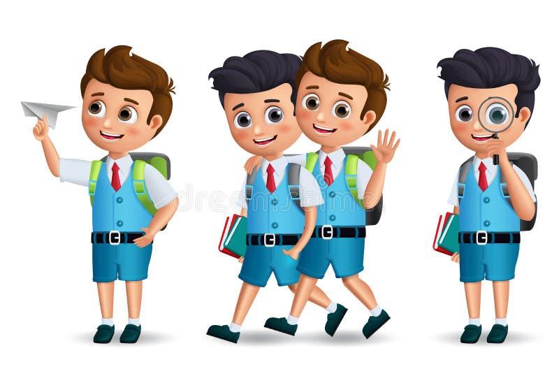 Jeu de caractères de vecteur d'écoliers Enfants d'étudiant tenant des articles d'école marchant et parlant illustration stock