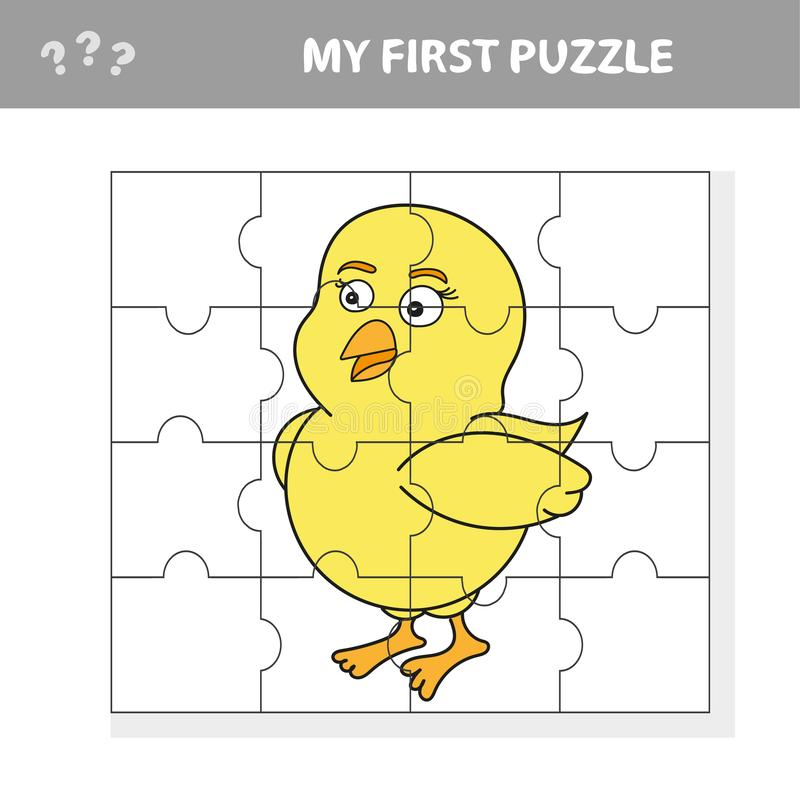 Jeu de casse-tête d'éducation de bande dessinée pour les enfants préscolaires avec le poulet illustration de vecteur
