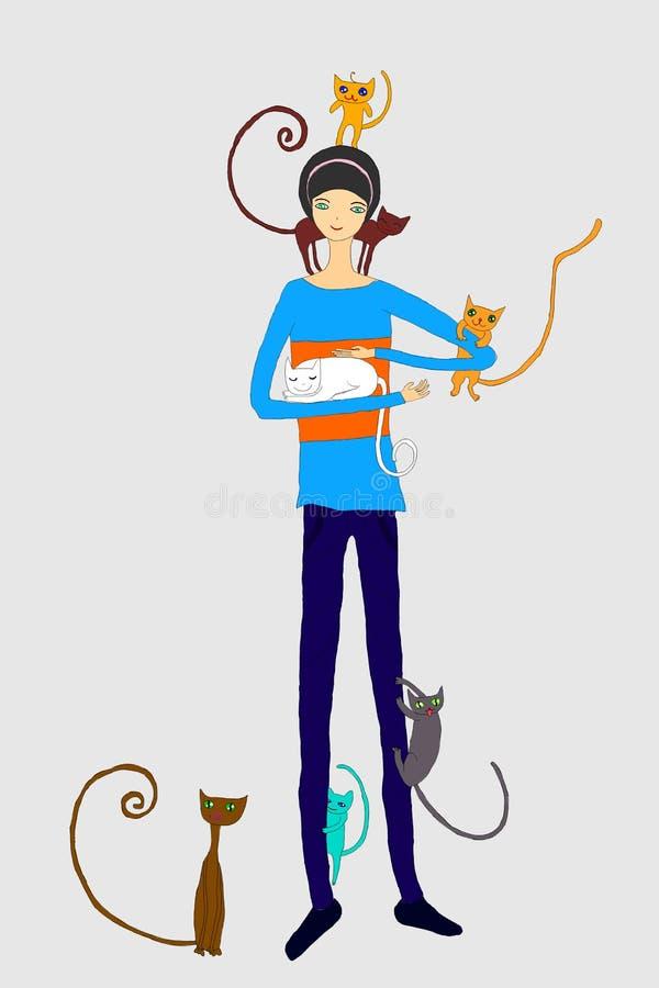 Jeu de chats avec une fille illustration de vecteur