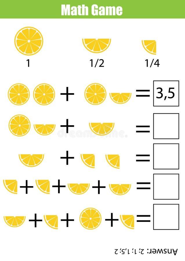 Jeu de compte éducatif de maths pour des enfants, fiche de travail d'addition Étude des fractions, moitié, quarts illustration libre de droits
