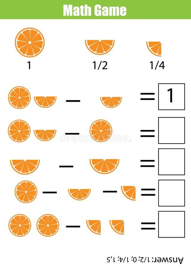 Jeu de compte éducatif de maths pour des enfants, fiche de travail de soustraction Étude des fractions illustration libre de droits