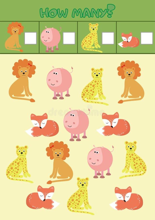 Jeu de compte éducatif pour les enfants préscolaires avec différents animaux de l'Afrique illustration libre de droits
