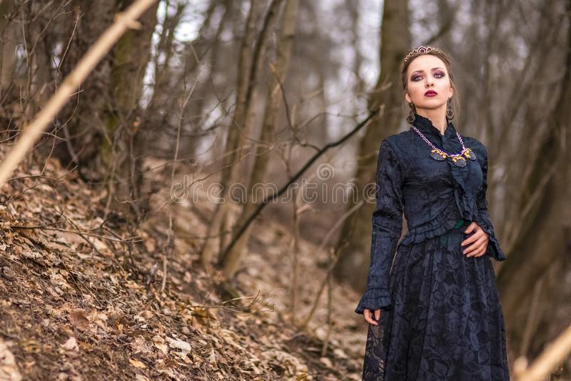Jeu de costume Femelle caucasienne de brune en Art Dress avec le collier et la couronne posant en Forest Outdoors photos libres de droits