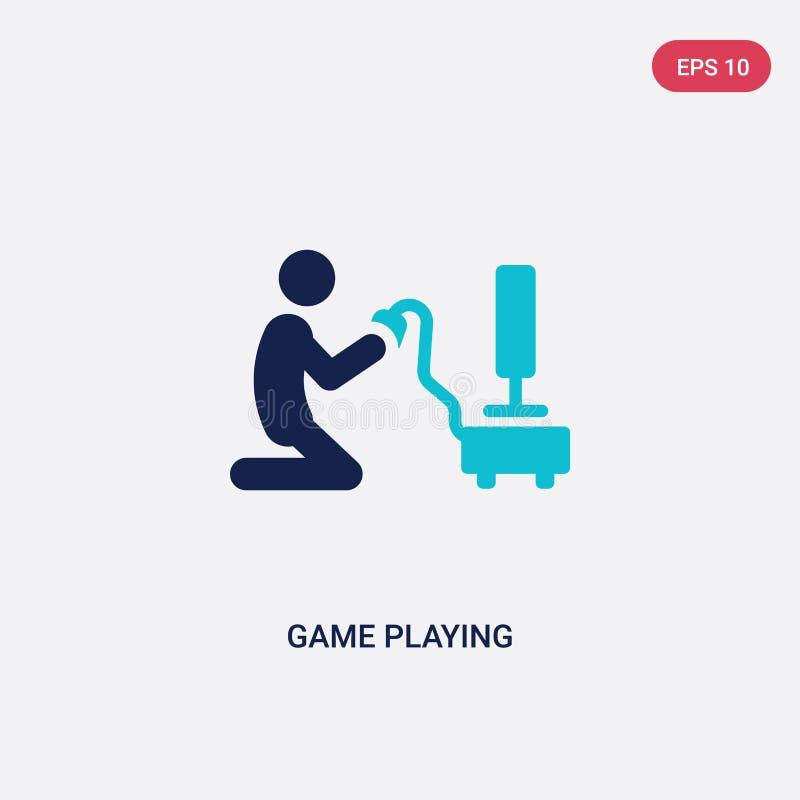 jeu de deux couleurs jouant l'icône de vecteur de l'activité et du concept de passe-temps le jeu bleu d'isolement jouant le symbo illustration libre de droits