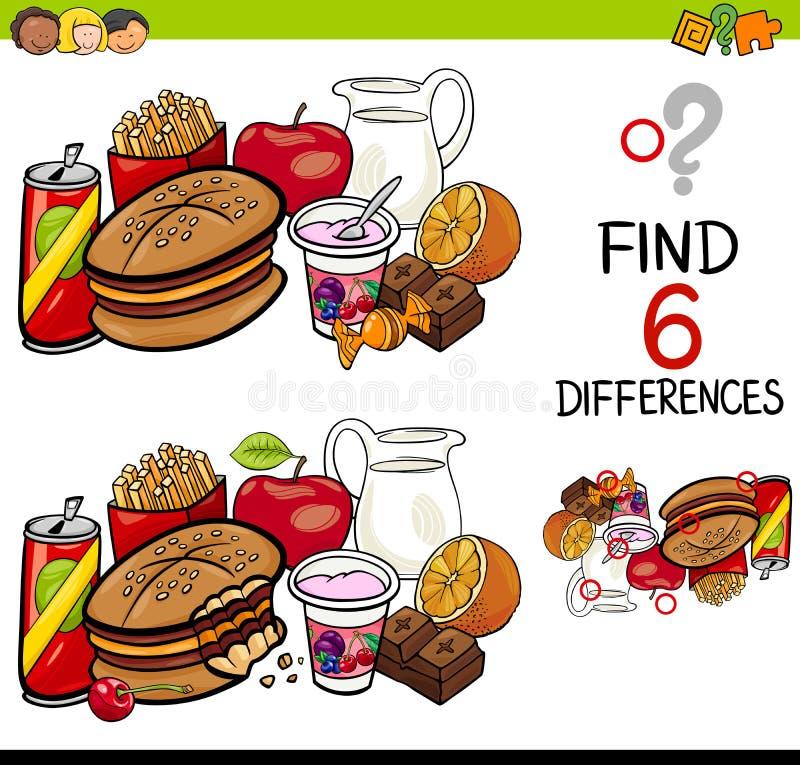 Jeu de différence avec des objets de nourriture illustration libre de droits