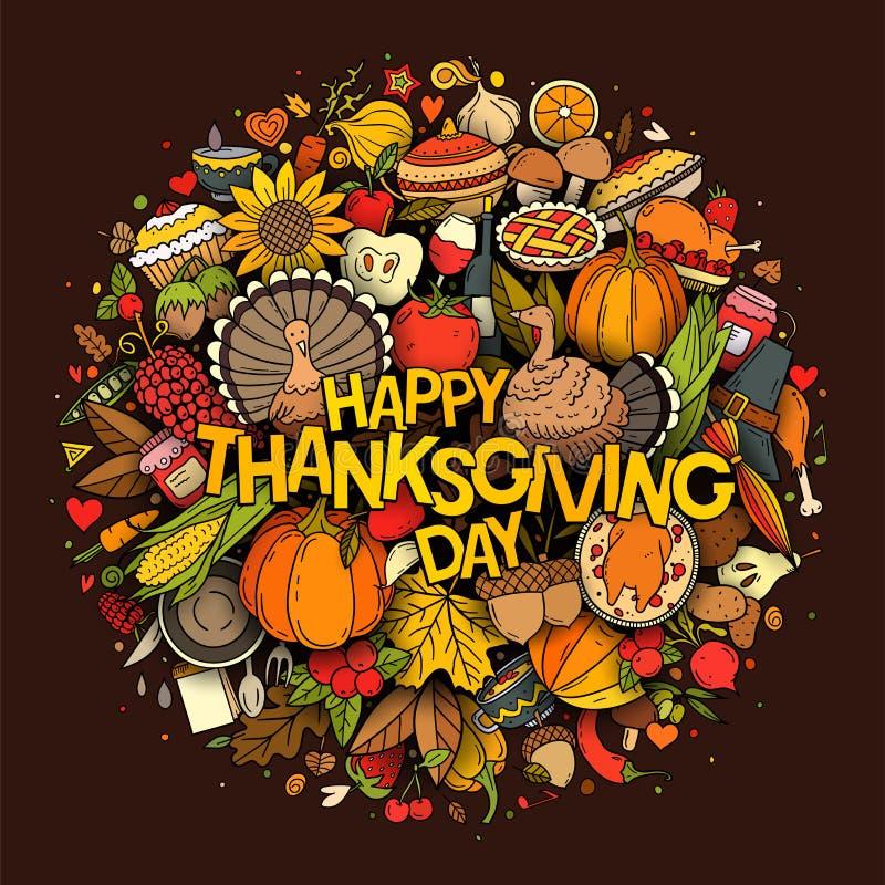 Jeu de doodles vectoriels de Thanksgiving à la main illustration stock