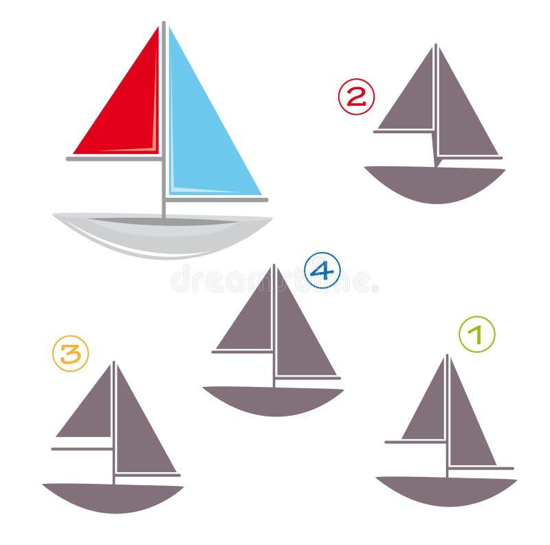 Jeu de forme - le bateau à voiles illustration de vecteur