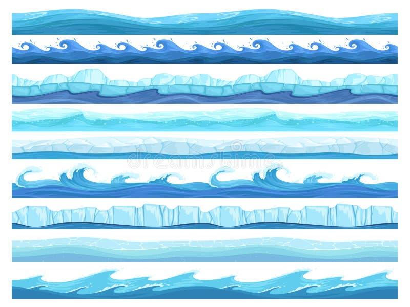 Jeu de l'eau sans couture Collection extérieure prête d'ui de vecteur de parallaxe de couches de mer ou de rivière d'océan de gla illustration libre de droits