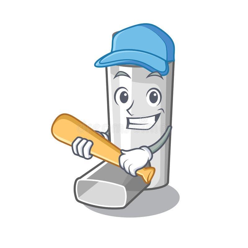 Jeu de l'inhalateur d'asthme de base-ball dans la forme de bande dessinée illustration de vecteur