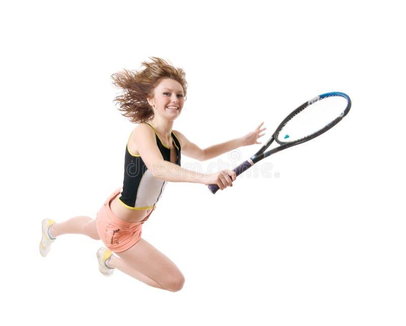 jeu de la femme de tennis image stock