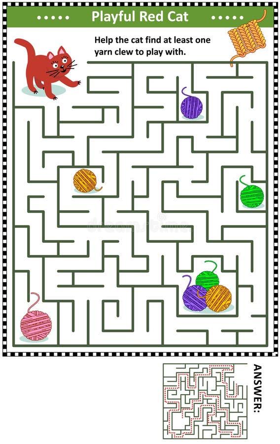 Jeu de labyrinthe avec des boules de chat et de fil illustration libre de droits