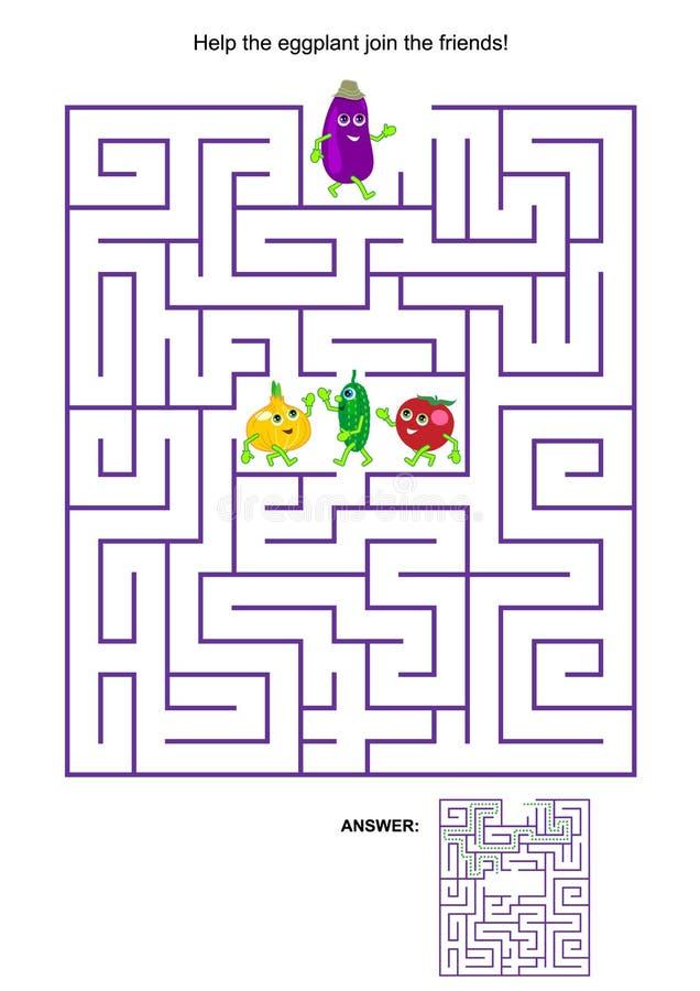 Jeu de labyrinthe avec l'aubergine et ses amis végétaux illustration libre de droits