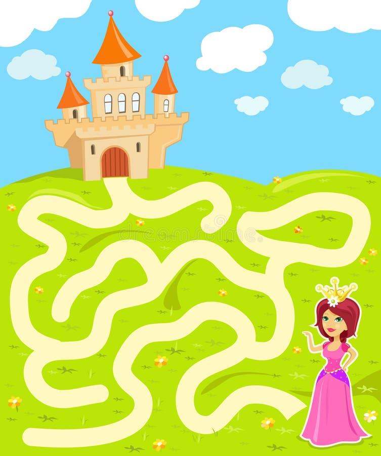 Jeu de labyrinthe avec la princesse illustration de vecteur