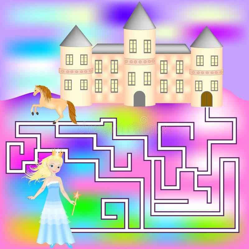 Jeu de labyrinthe avec une princesse Jeu pour des filles illustration stock