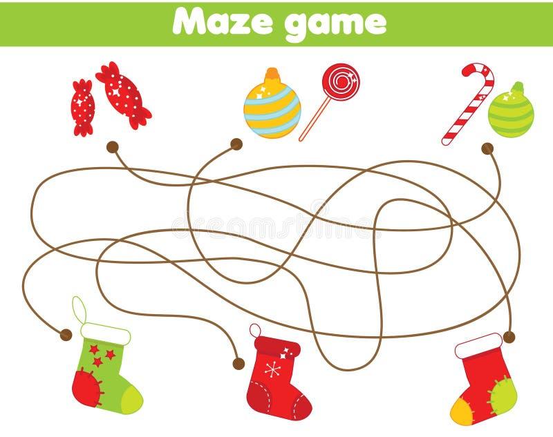 Jeu de labyrinthe Cadeaux et chaussettes de match Activité de thème de Noël et de nouvelle année pour des enfants et des enfants illustration stock