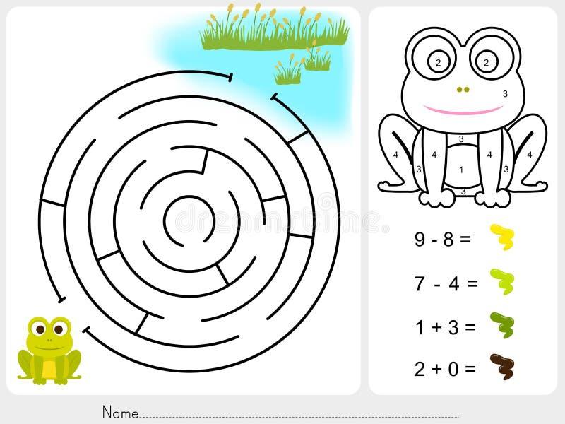 Jeu de labyrinthe, couleur de peinture par des nombres - fiche de travail pour l'éducation illustration stock