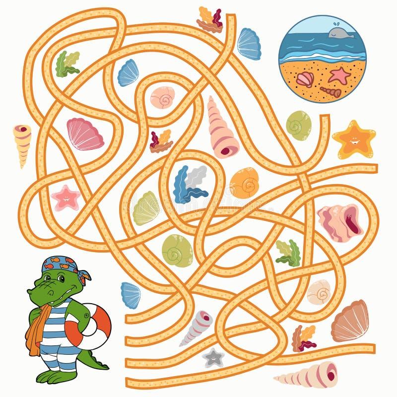 Jeu de labyrinthe (crocodile) illustration libre de droits